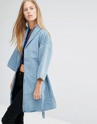 Джинсовая куртка в стиле кимоно Ganni - Деним