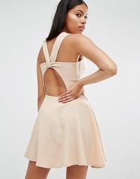 Приталенное бежевое платье с перекрученной спинкой Love - Бежевый