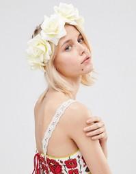 Венок для волос с отделкой розами Johnny Loves Rosie Kiara - Кремовый