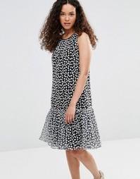 Платье с баской и цветочной вышивкой YMC