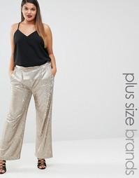 Широкие брюки с пайетками Elvi - Золотой