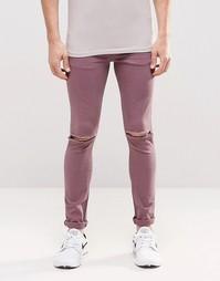 Фиолетовые супероблегающие джинсы с рваными коленями ASOS - Фиолетовый