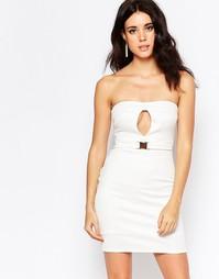 Облегающее платье с поясом и вырезом-капелькой Oh My Love - Кремовый