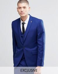Синий пиджак узкого кроя с острыми лацканами Farah - Насыщенно-голубой