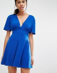 Платье с широкими рукавами Love - Кобальтовый
