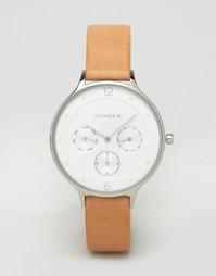 Часы со светло-коричневым кожаным ремешком Skagen Anita SKW2449