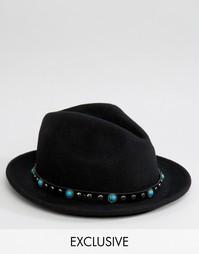 Мягкая фетровая шляпа с отделкой Reclaimed Vintage - Черный