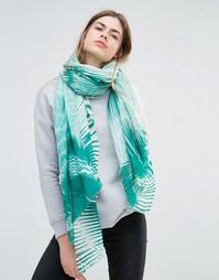 Зеленый oversize-шарф с абстрактным принтом Becksondergaard - Зеленый