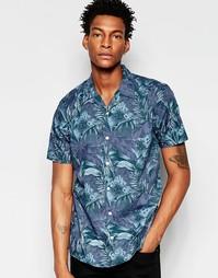Рубашка с короткими рукавами и цветочным принтом Minimum - Темно-синий