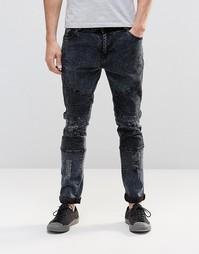 Байкерские джинсы с потертостями Systvm Nickel Marble - Черный