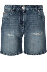 Джинсовые мини-шорты с потертостями Blumarine