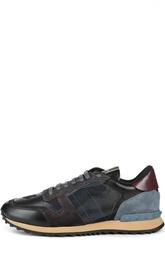Кожаные кроссовки с принтом Valentino