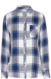 Блуза прямого кроя в клетку с накладным карманом Rails