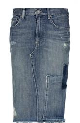 Джинсовая юбка-миди с потертостями и бахромой Polo Ralph Lauren