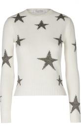 Пуловер фактурной вязки с металлизированным принтом Valentino