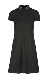 Платье-рубашка со складкой и декорированным воротником Valentino