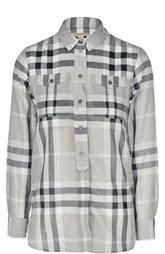 Блуза свободного кроя в клетку с накладными карманами Burberry