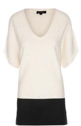 Удлиненный пуловер фактурной вязки с пайетками Escada