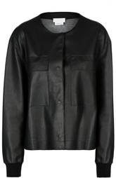 Кожаная куртка с круглым вырезом и манжетами DKNY