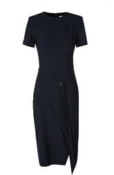 Облегающее платье в полоску асимметричного кроя DKNY