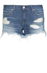 Джинсовые мини-шорты с потертостями и бахромой Rag&Bone Rag&;Bone