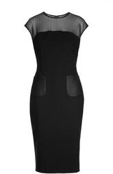 Облегающее платье с перфорированной вставкой и накладными карманами Escada