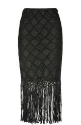 Облегающая юбка с кружевной отделкой  и бахромой Polo Ralph Lauren