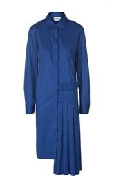 Платье-рубашка асимметричного кроя с плиссировкой DKNY