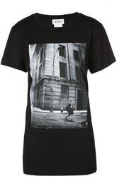 Удлиненная футболка прямого кроя с фотопринтом DKNY