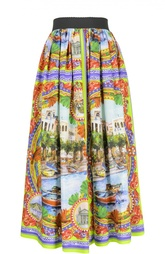 Юбка-миди свободного кроя с ярким принтом Dolce & Gabbana