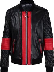 кожаная куртка-бомбер со стегаными рукавами Philipp Plein