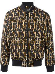peace print bomber jacket Love Moschino