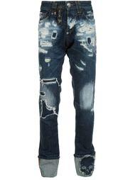 джинсы прямого кроя с потертой отделкой Philipp Plein