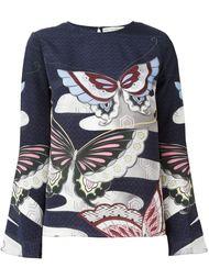 блузка с изображением бабочек  Mary Katrantzou