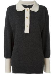 свитер с контрастным воротником Chanel Vintage