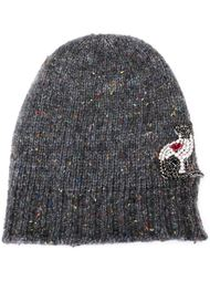 шапка-бини с украшением в виде кошки Nº21