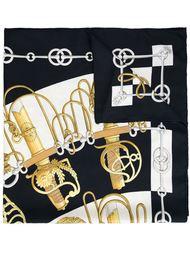 шарф с комбинированным принтом Hermès Vintage
