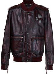 кожаная куртка-бомбер с потертой отделкой Philipp Plein