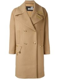 love/hate plaque coat Love Moschino