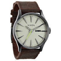 Часы Nixon Sentry Leather Gunmetal/Brown