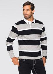 Футболка-поло Regular Fit (черный/светло-серый меланж/бел) Bonprix