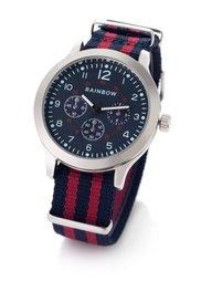 Мужские часы на текстильном браслете в полоску (синий/красный) Bonprix
