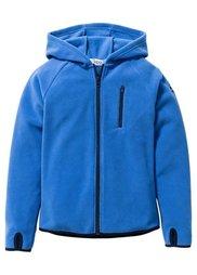 Флисовая куртка с контрастными деталями, Размеры  116/122-164/170 (черный/зеленый лайм) Bonprix
