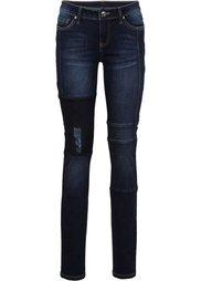Джинсы Skinny с нашивками и рельефными швами (синий «потертый») Bonprix