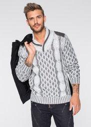 Пуловер Slim Fit с шалевым воротом (светло-серый) Bonprix