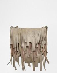 Сумка через плечо с бахромой Pieces - 17071751 слоновий