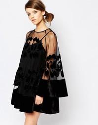 Платье мини с прозрачной вставкой и рукавами колокол Alice McCall