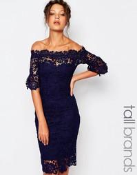 Кружевное платье‑футляр с широким вырезом Paper Dolls Tall