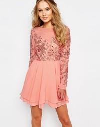 Платье мини с декоративной отделкой Virgos Lounge Ria - Розовый