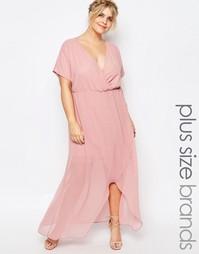 Платье макси с запахом и рюшами Truly You - Розовый